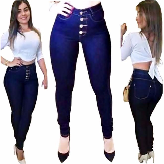 12be74111 Calça Jeans Skinny C  Botões Cintura Alta Hot Pants Promoção - R  75 ...