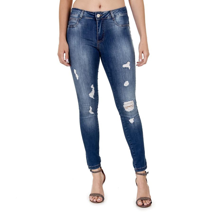 calça jeans skinny destroyed feminina sawary. Carregando zoom. e1a50d477cae1