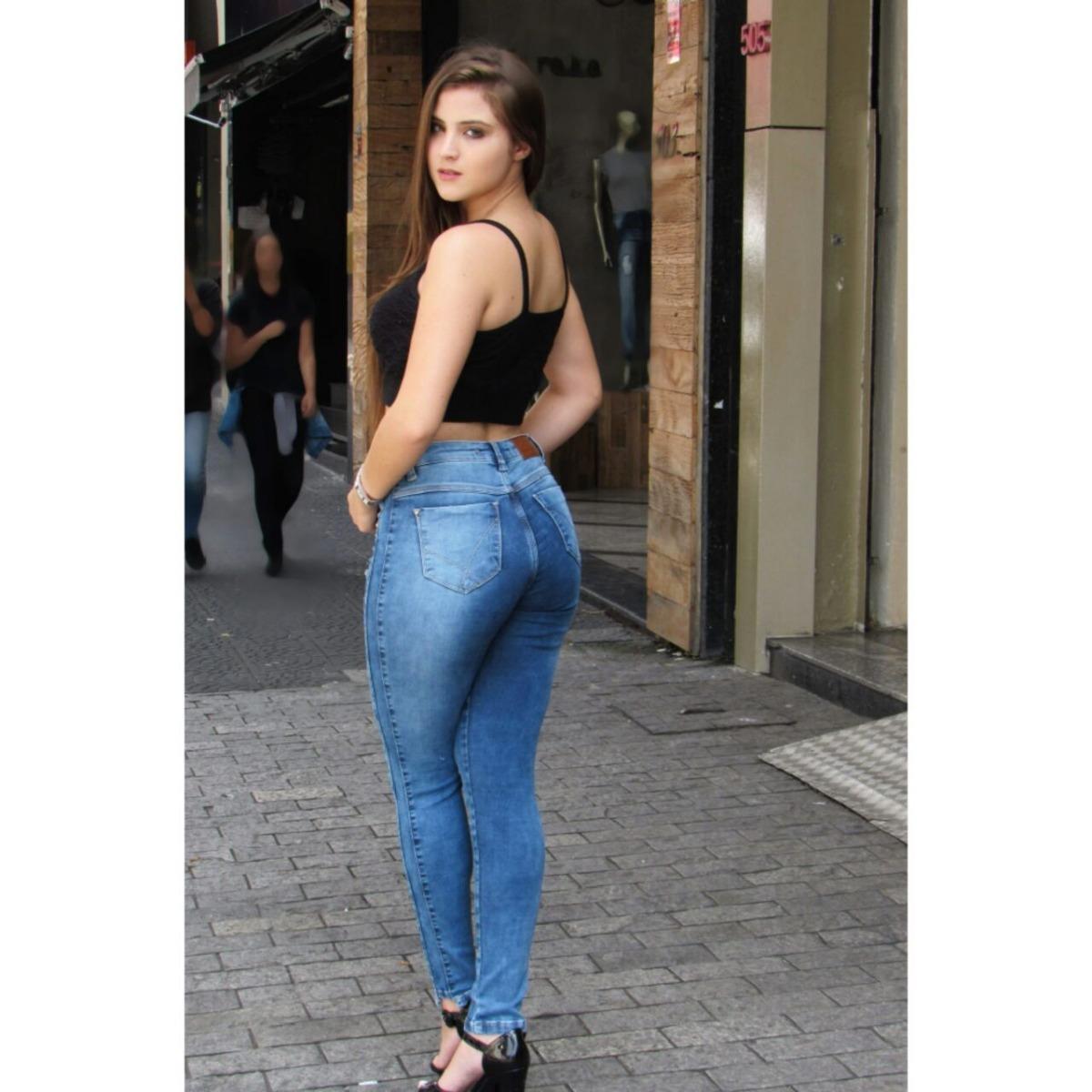 8a906a609 calça jeans skinny feminina cintura alta rasgada modela 1325. Carregando  zoom.
