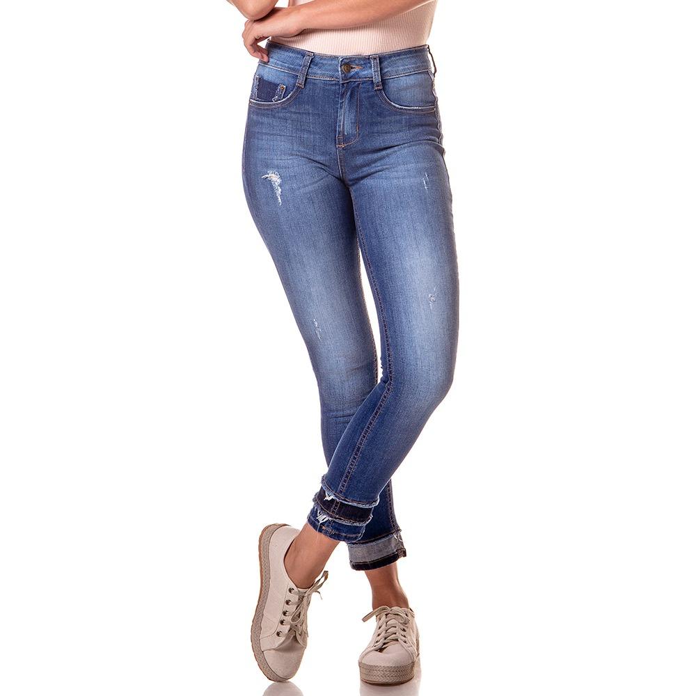 9679aaba97a Calça Jeans Skinny Média Cigarrete Detalhe Barra - Dz2739