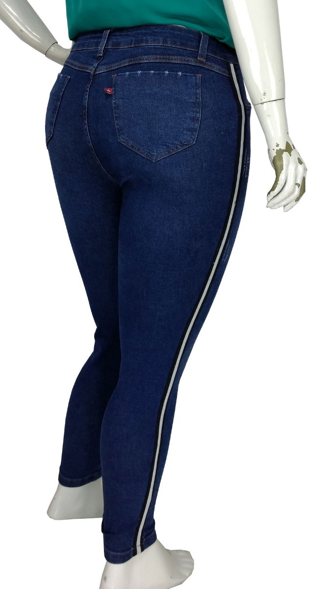 bd014c2946 calça jeans skinny plus size c faixa lateral feminina cambos. Carregando  zoom.