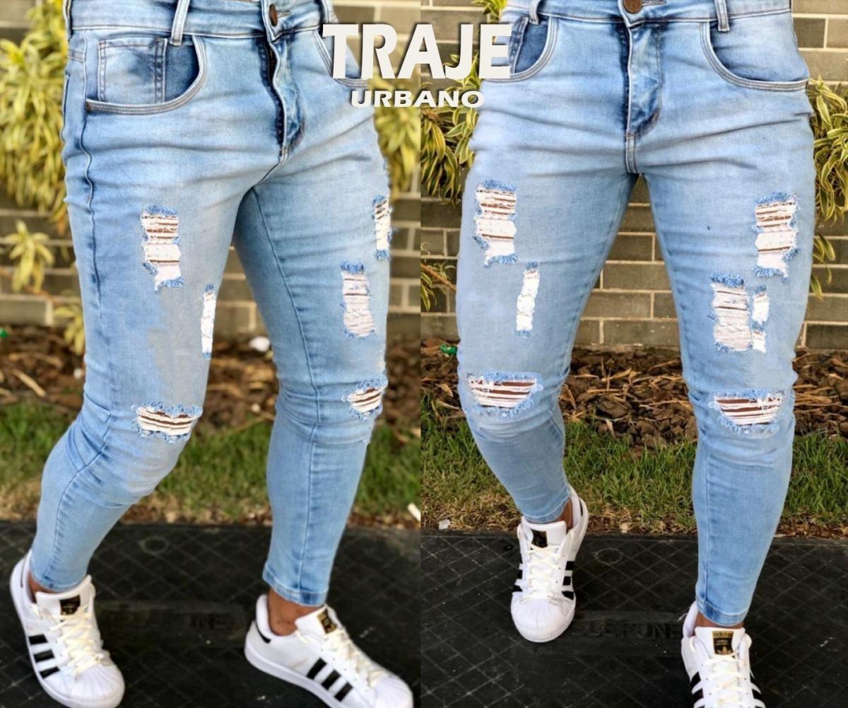 784f923d27ede5 Calça Jeans Super Skinny Destroyed Rasgada Masculina