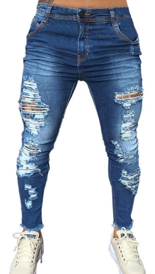 a1d645437214e2 Calça Jeans Super Skinny Lycra Destroyed Rasgada Masculina