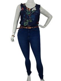 e64cbdc9af Calça Jeans Skinny Plus Size Roupas Femininas Cambos Azul