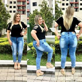 6523a9c6f02 Calça Jeans Tamanho Plus Size Cintura Alta Skinny E Flare