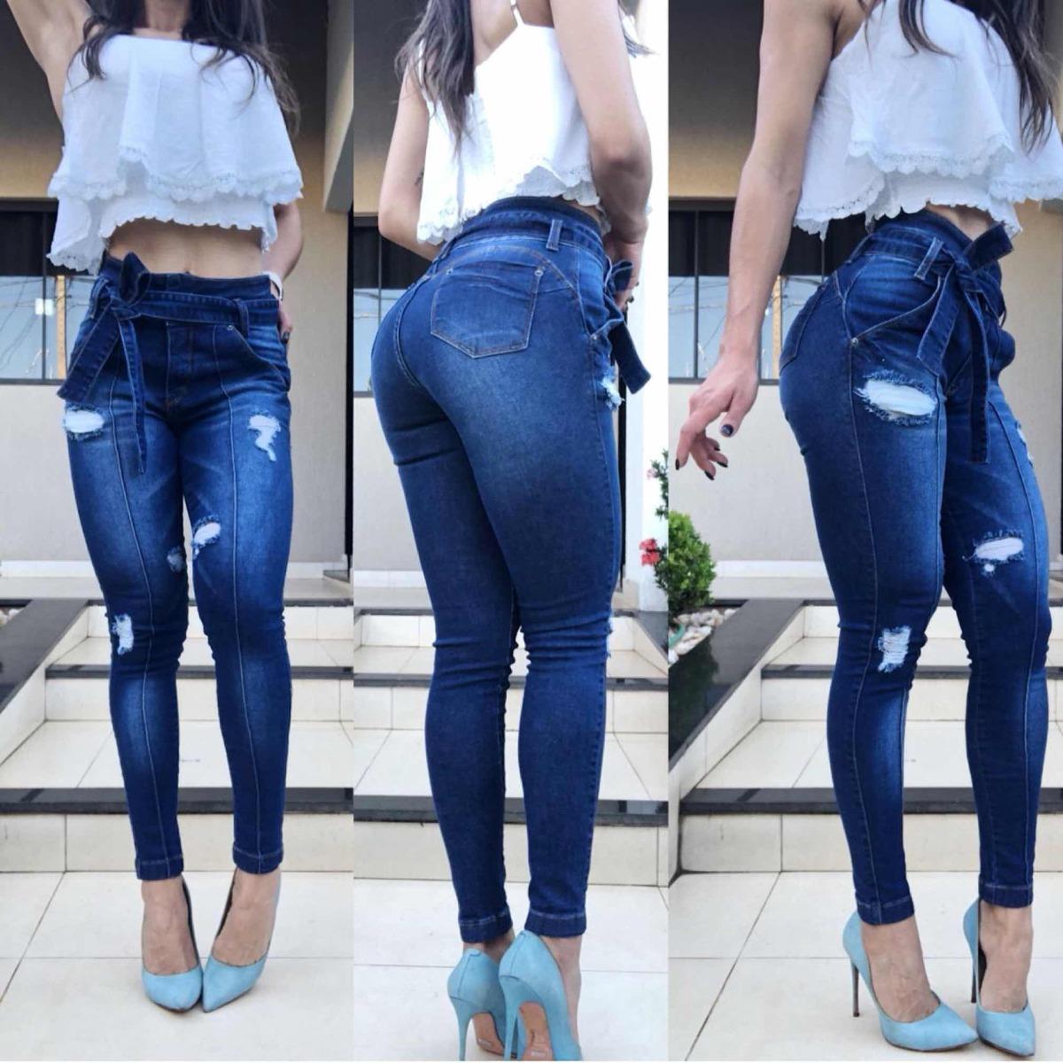 46fe5877a Calça Jeans T j Escura Com Cinto De Amarrar (pouco Elastano) - R  119