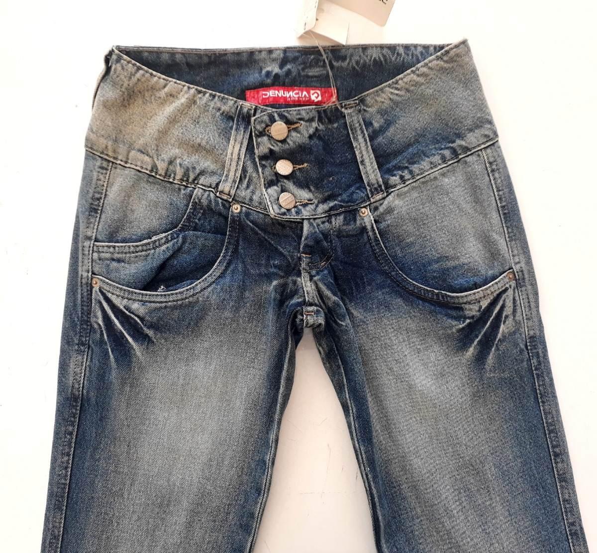 66b7fe1e0 Calça Jeans Três Botões Feminina Denuncia - R$ 94,99 em Mercado Livre