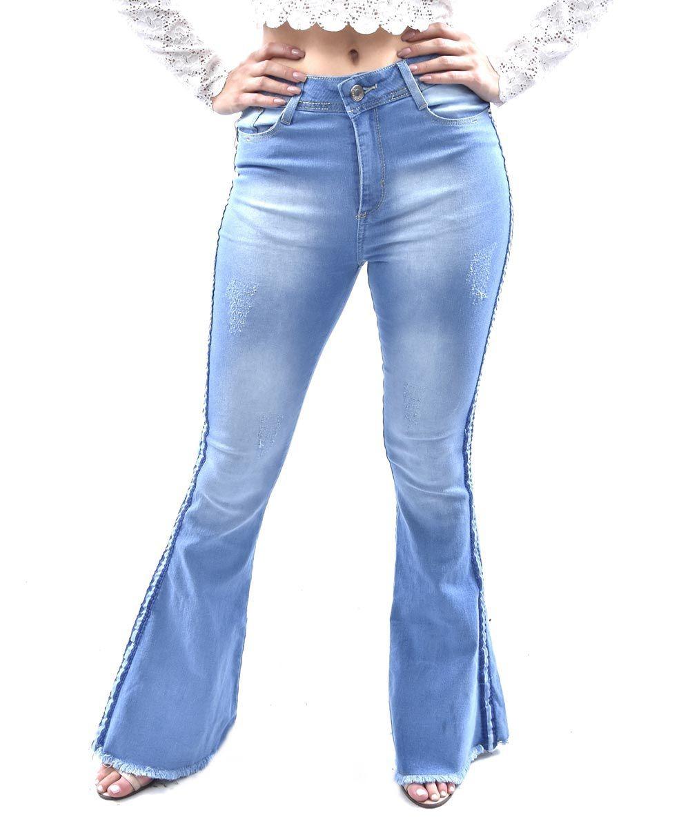 390bdf184 calça jezzian flare com faixa azul. Carregando zoom.