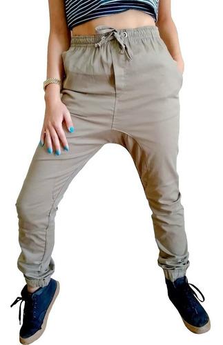 calça jogger feminina caqui sarja com elastano vcstilo