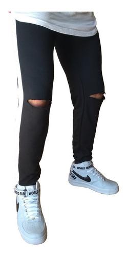 calça jogger moletom rasgada destroyed com listra lateral