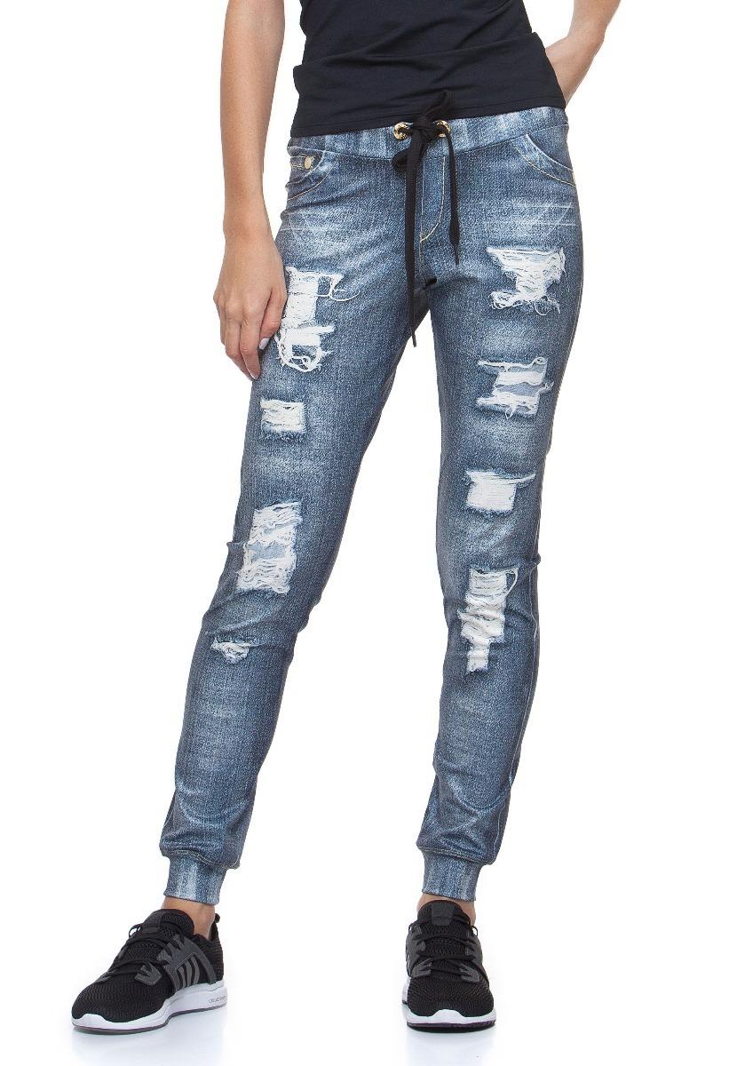13b13e053 calça jogger rola moça fake jeans. Carregando zoom.