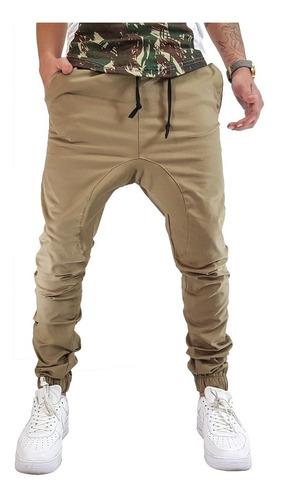calça jogger sarja com elastano caqui vcstilo