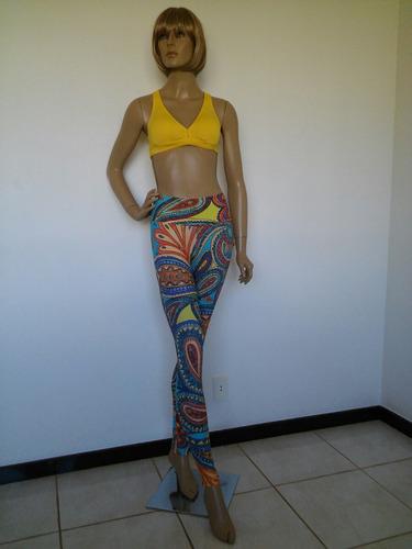 calça leg estampada top liso fitness feminina tam p afrodite