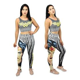Calça Legging + Top / Blusa Mulher Maravilha 3d Fitness 5027