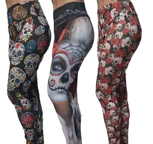 calça legging caveira mexicana rosas leg rock fitness