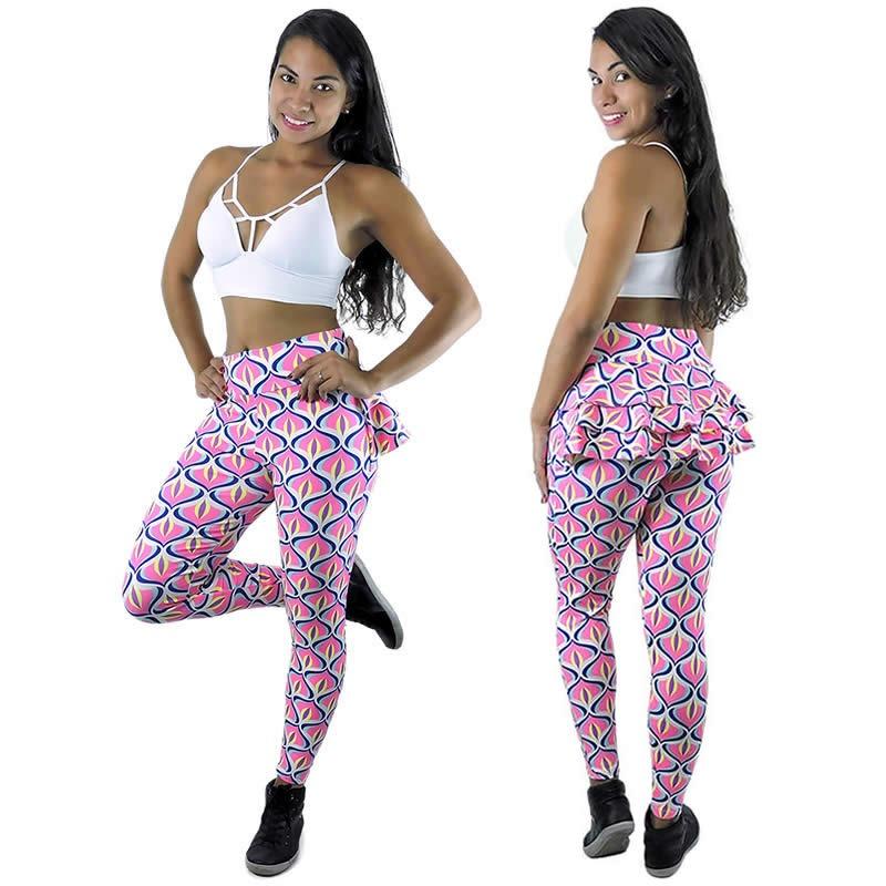 c52e55083 Calça Legging Com Babado Estampada Roupa De Malhar Feminina - R  64 ...