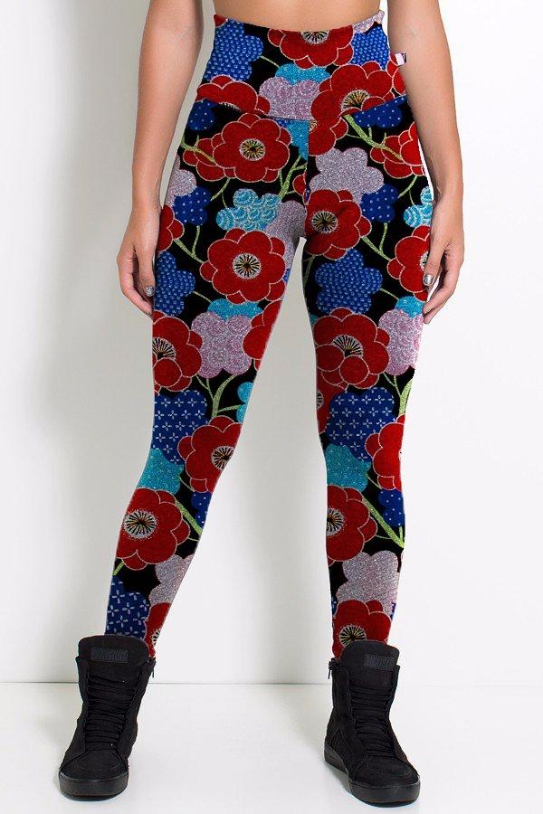 Calça Legging Elástica Floral Tumblr Vermelho E Azul - R$ 120,00 em ...