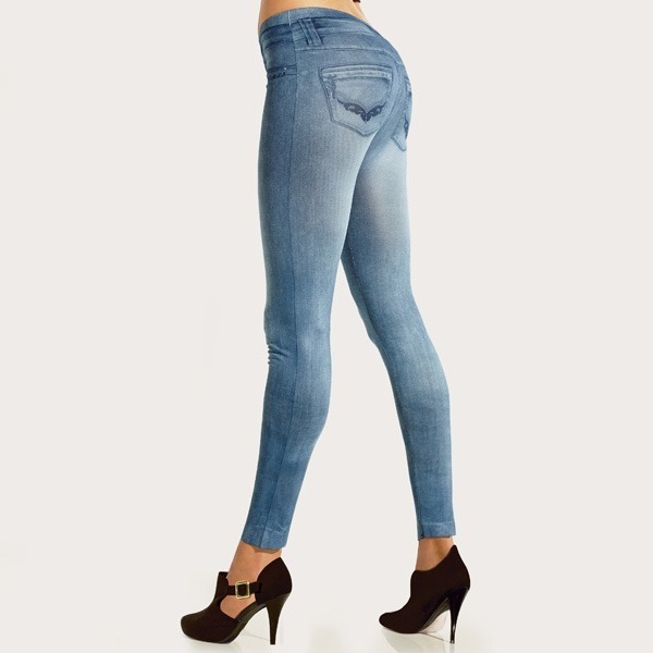 c28cdcc04 Calça Legging Em Malha Estampa Jeans Calça Jegging - R$ 119,99 em ...