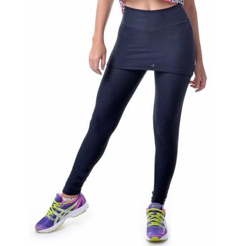 calça legging fitness texturizada com saia preta - up fitwea