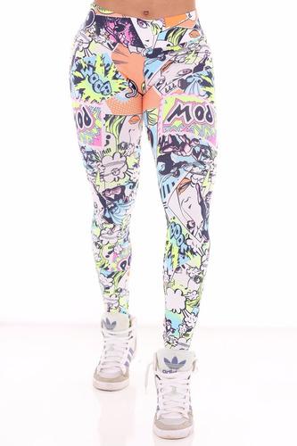 calça legging fusô suplex estampada desenho gibi cl004