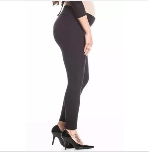 calça legging grávida gestante skinny e cotton kit 2 peças
