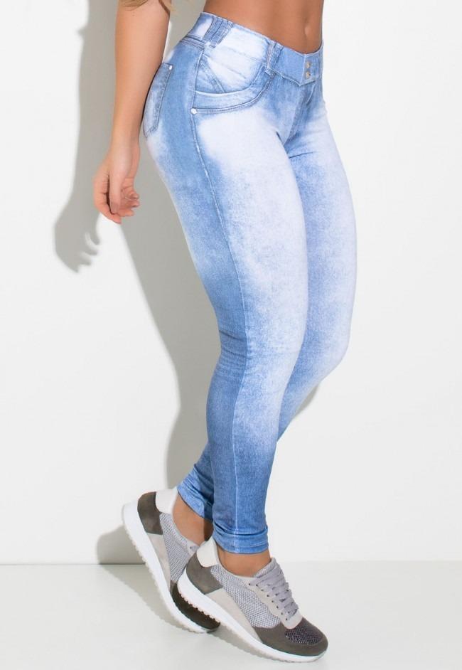 96b5fa4b0b calça legging jeans com manchas claras sublimada. Carregando zoom.