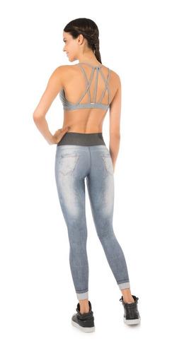 calça legging live dupla face 2 em 1 jeans e estampada nova!