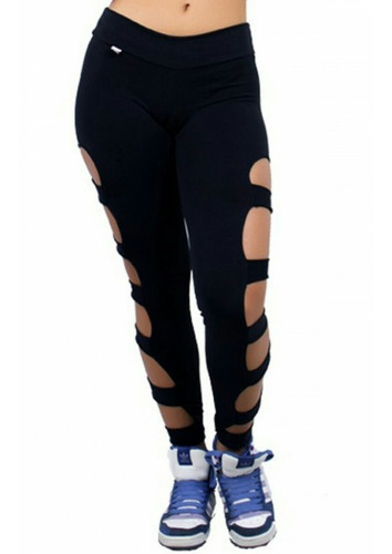 calça legging rasgada - f98