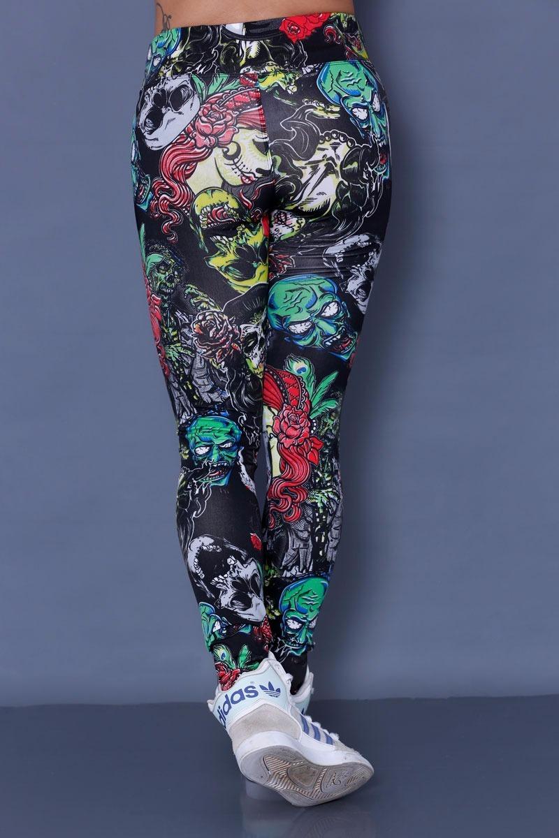 12f4e22ff calça legging unisex preta zumbi alternativa rock luta morto. Carregando  zoom.
