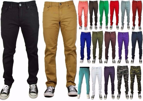calça masculina colorida cores lycra slim sarja moda 2017