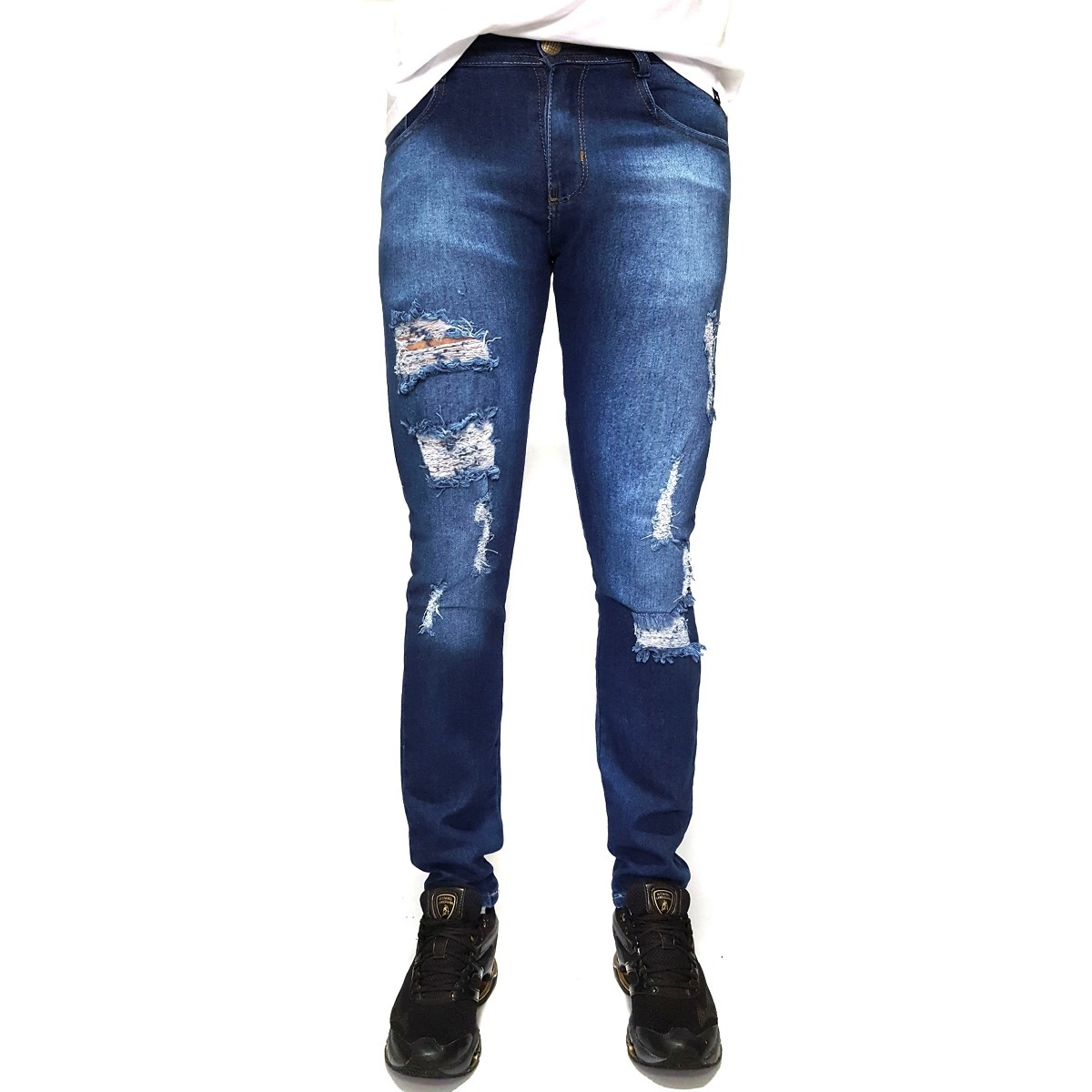 calça masculina destroyed jeans skinny lycra premium ballad. Carregando  zoom. cdcdd996bf14f