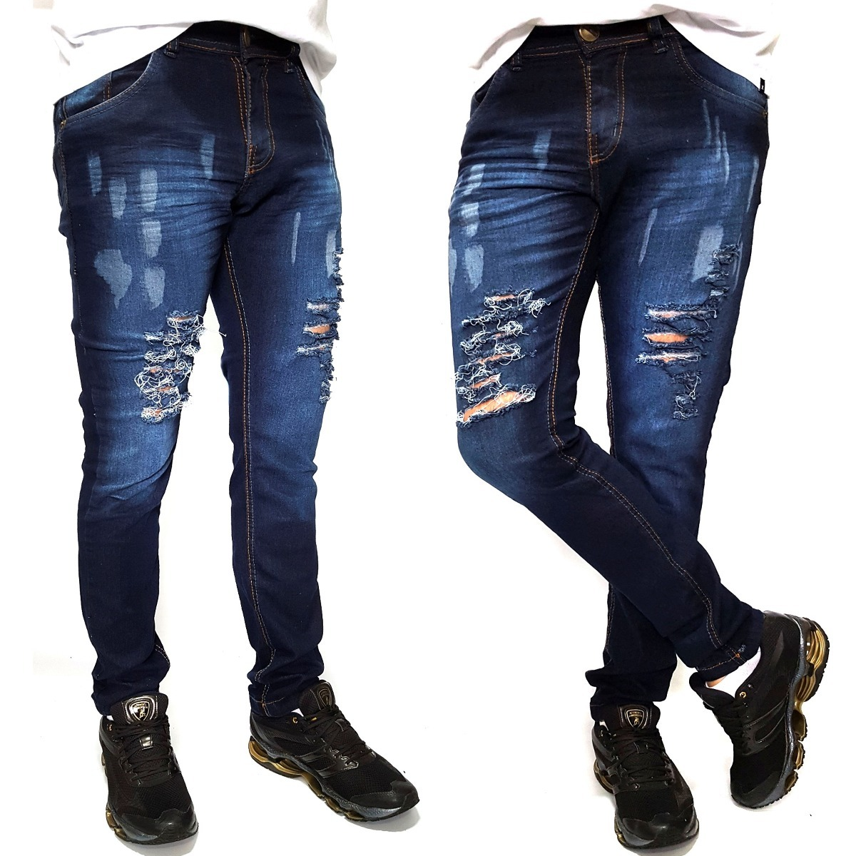 e9f70aede calça masculina skinny com lycra azul claro azul manchada. Carregando zoom.