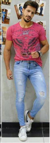 calça masculina sol jeans skinny destroyed com lycra azul