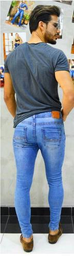 calça masculina sol man básica super skinny com lycra azul