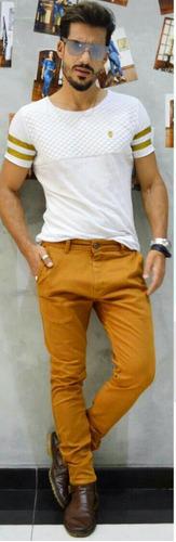 calça masculina sol man cigarrete com lycra mostarda