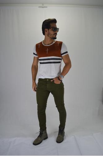 calça masculina sol man skinny com lycra premium verde