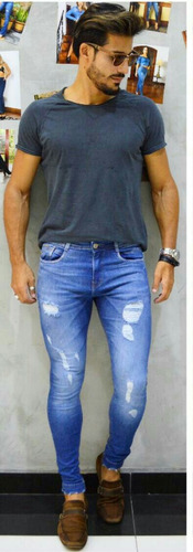 calça masculina sol man super skinny rasgada com lycra azul