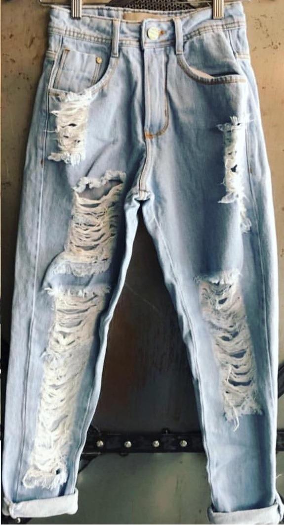 439907f7b calça mom destroyed lavagem azul. Carregando zoom.
