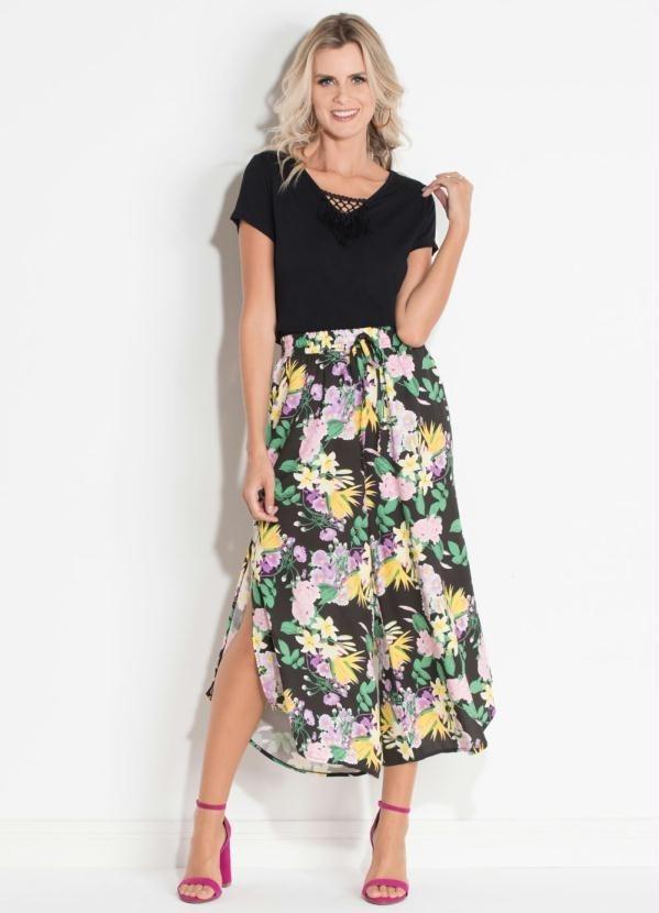 1d66323be calça pantacourt com fenda lateral floral dark quintess. Carregando zoom.