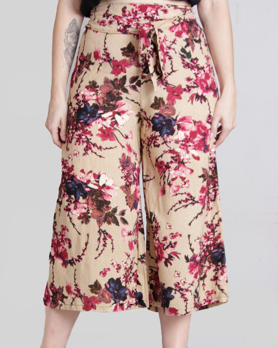 4fb8ec09a Calça Pantacourt Floral - R$ 89,90 em Mercado Livre