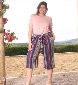 cf4851859 Calca Feminina De Listras Plus Size - Calçados, Roupas e Bolsas no Mercado  Livre Brasil