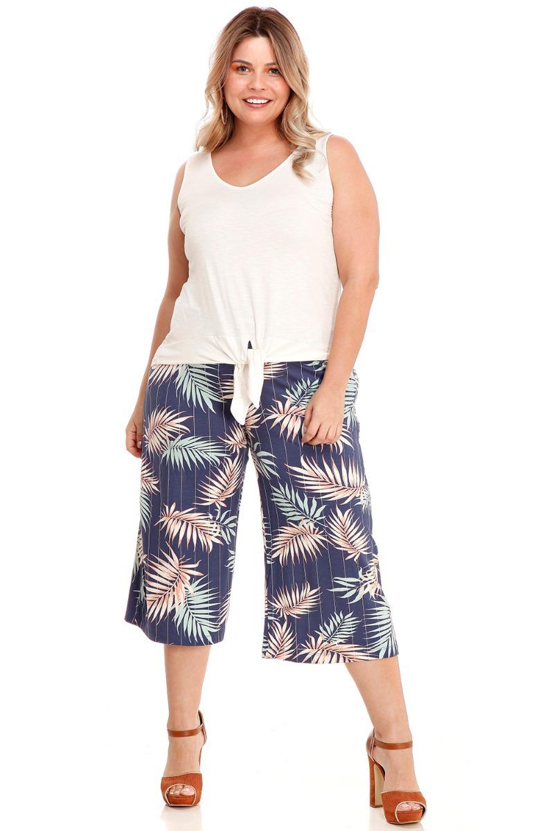 5d96ea4f836591 Calça Pantacourt Social Estampada Azul Verão Plus Size