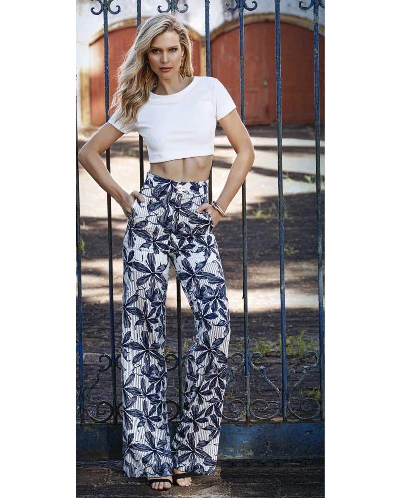 5e33e6a47 calça pantalona estampada floral hibisco viscose knt 233126. Carregando zoom .