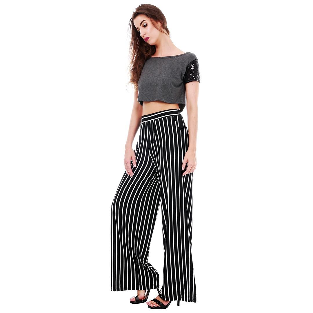 calça pantalona feminina listrada cintura alta pantalona. Carregando zoom. 8656a6564fc