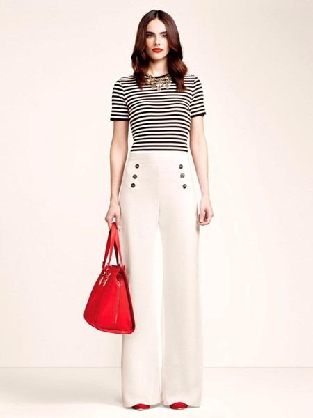 Calça Pantalona Feminino Elegante Linho Botões Prateados - R  195 13c14463a1c