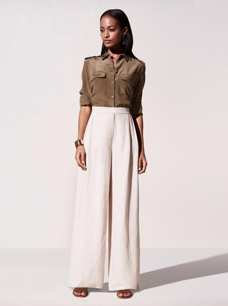 Calça Pantalona Feminino Elegante Refinada Em Linho Branco - R  195 ... 66bff59c789