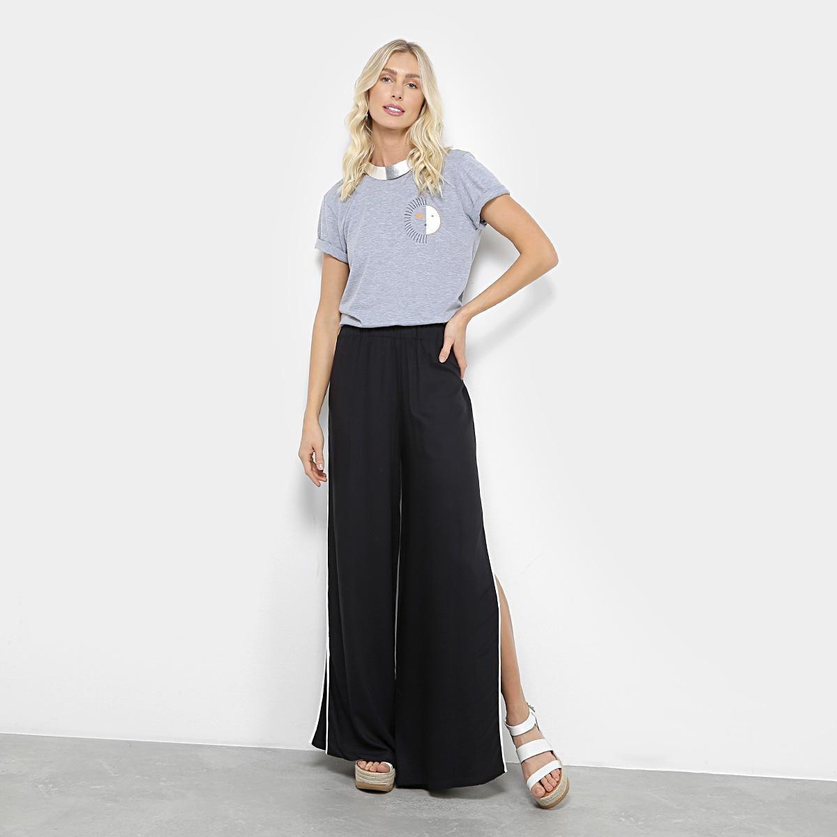 be6621f76 calça pantalona fendas farm listra lateral feminina. Carregando zoom.