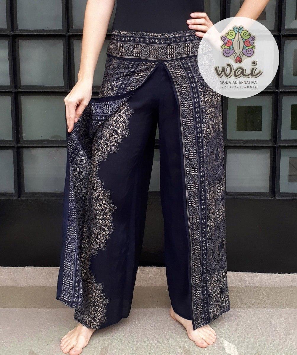 ff84e5b12e Calça Pantalona Tailandesa  Thai - Com Fenda  2 - R  115
