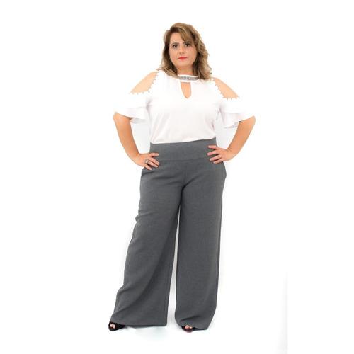 calça plus size pantalona linhão cinza poliéster tipo linho
