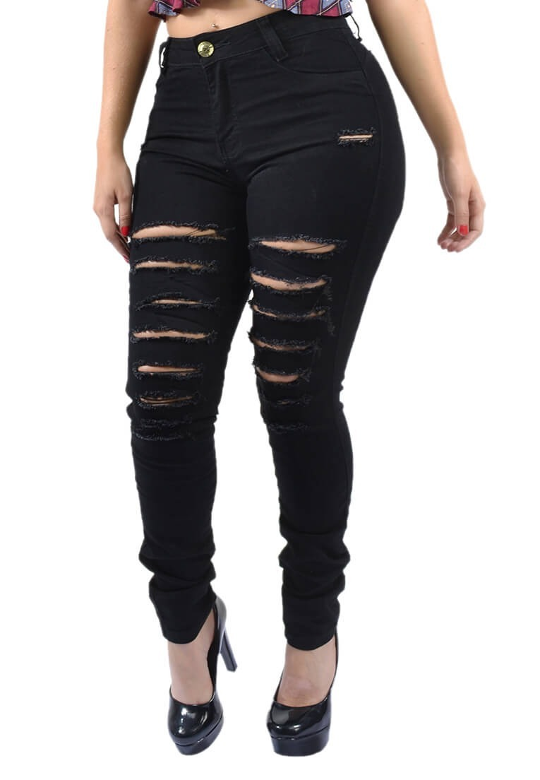 602516800 calça preta feminina cintura alta hot pants destroyed rasgo. Carregando  zoom.